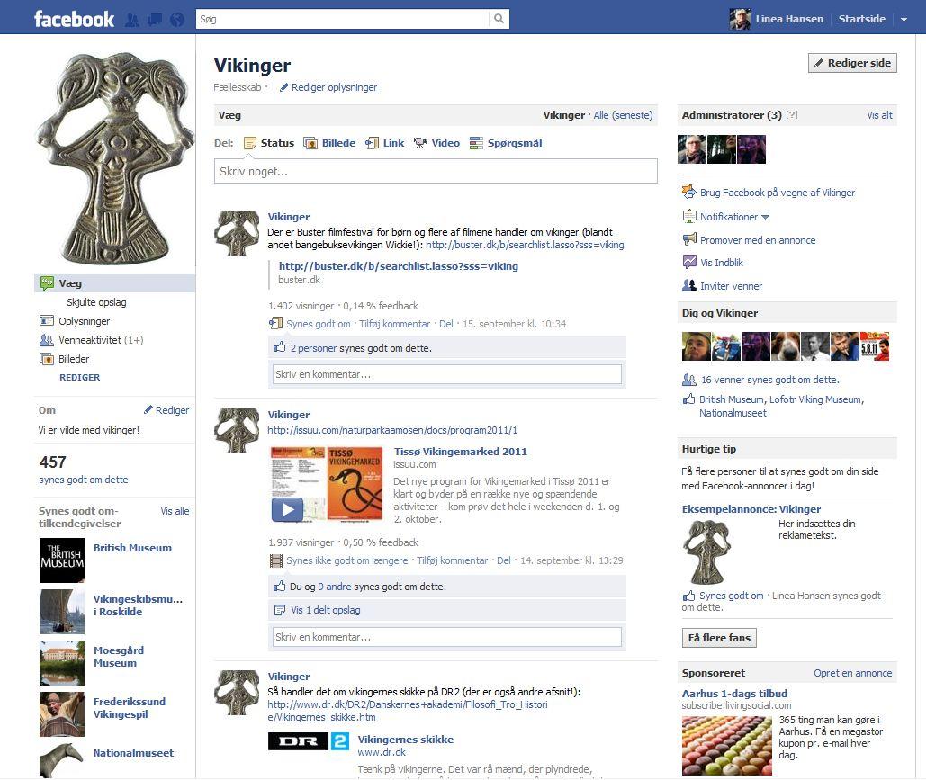 Vikingesiden på Facebook