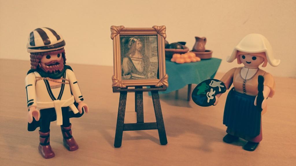 Playmobil figurer fra Museo del Prado og Rijksmuseum, baseret på malerier af Dürer og Vermeer.